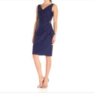 Alex Evenings Plus Ruched Dress Navy Slimming